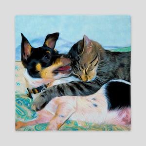 Rat Terrier with Cat Queen Duvet