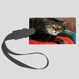 Cat Snoozing Large Luggage Tag