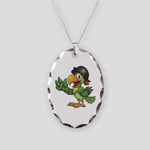 Pirate-Parrot Necklace Oval Charm