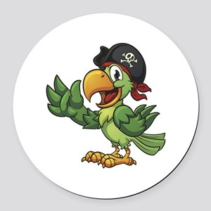 Pirate-Parrot Round Car Magnet