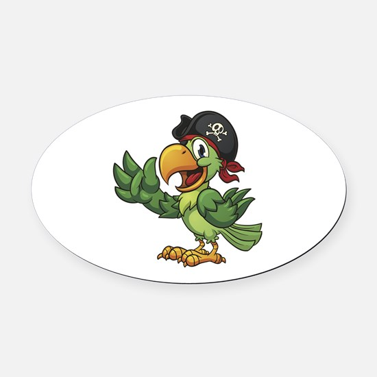 Pirate-Parrot Oval Car Magnet