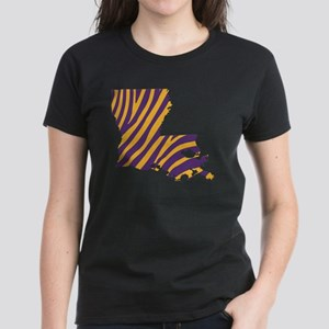 Louisiana Tiger Stripes Women's Dark T-Shirt