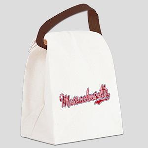 Massachusetts Script Font Canvas Lunch Bag