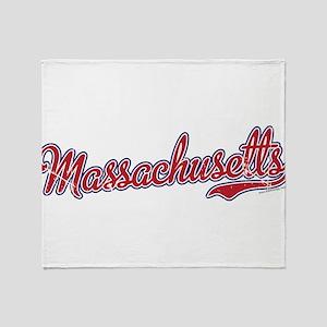 Massachusetts Script Font Vintage Throw Blanket