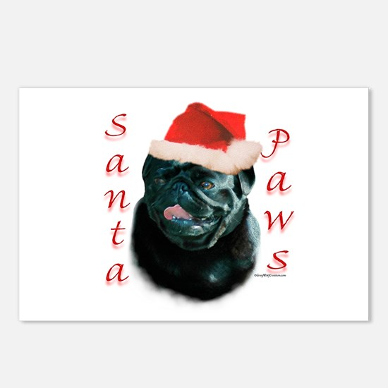 Santa Paws Pug (blk) Postcards (Package of 8)