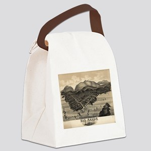 Vintage Pictorial Map of Bar Harb Canvas Lunch Bag
