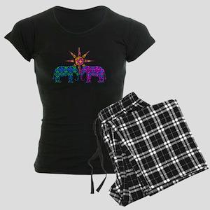 Colorful Paisley Elephant Lo Women's Dark Pajamas