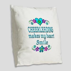 Cheerleading Smiles Burlap Throw Pillow