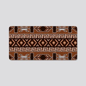 Brown And Tan Aztec Pattern Aluminum License Plate