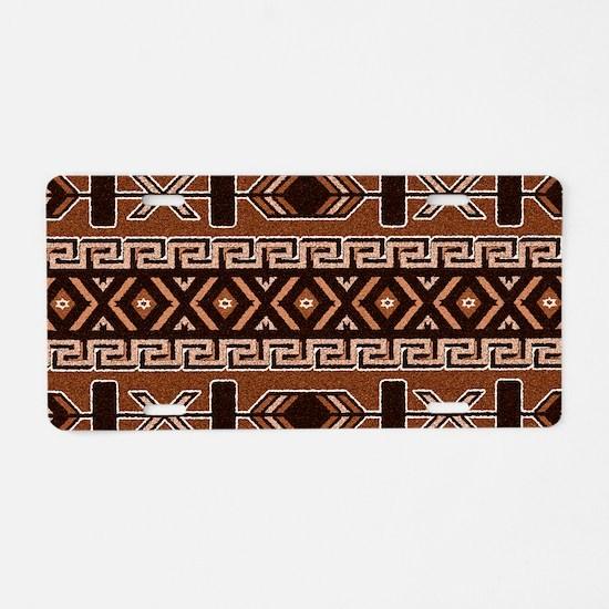 Brown And Tan Aztec Pattern Aluminum License Plate