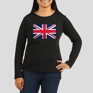 British Flag Women's Long Sleeve Dark T-Shirt