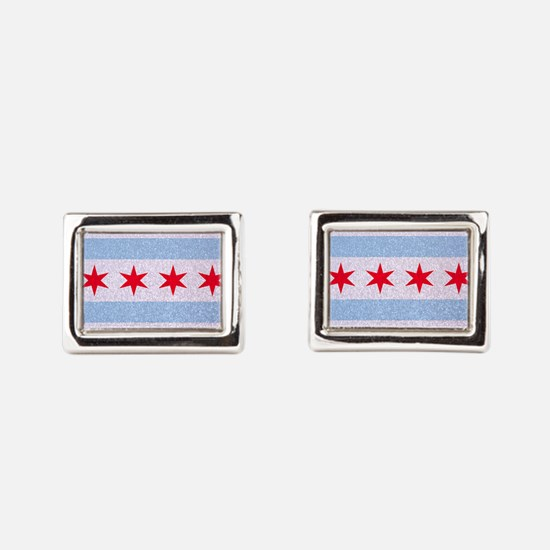 Chicago Flag Glitter Rectangular Cufflinks