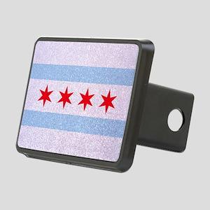 Chicago Flag Glitter Rectangular Hitch Cover