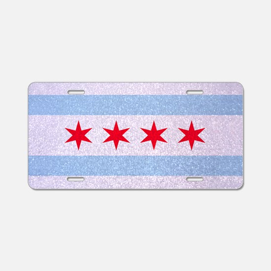 Chicago Flag Glitter Aluminum License Plate