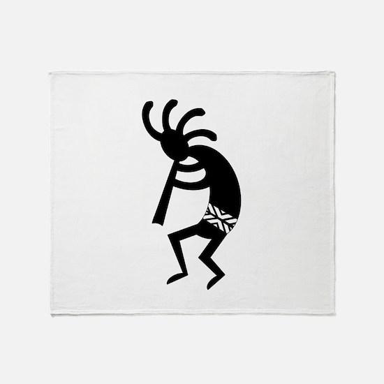 Black And White Kokopelli Throw Blanket