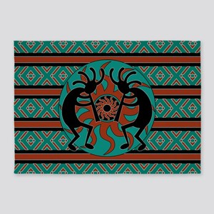 Turquoise Kokopelli 5'x7'Area Rug