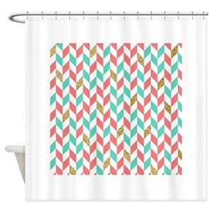 Baby Blue Chevron Shower Curtains