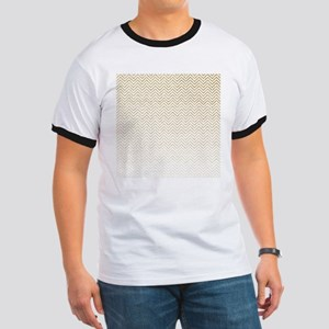 Gold Sparkle Ombre Chevron Stripes T-Shirt