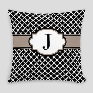 Black Taupe Quatrefoil Monogram Everyday Pillow