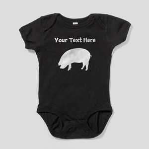 Custom Pig Silhouette Baby Bodysuit