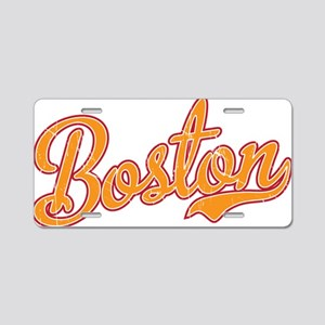Boston Script Gold VINTAGE Aluminum License Plate
