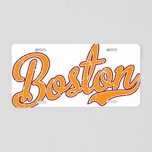 Boston Script Gold VINTAGE Aluminum License Plate