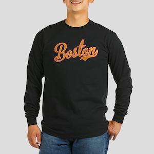 Boston Script Gold VINTAG Long Sleeve Dark T-Shirt