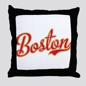 Boston Script Gold VINTAGE Throw Pillow