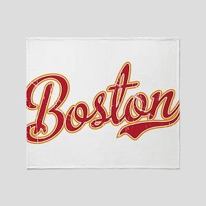 Boston Script Gold VINTAGE Throw Blanket