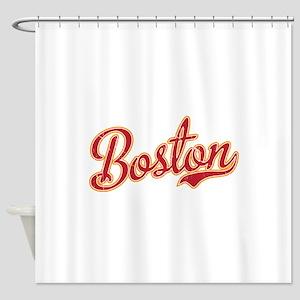 Boston Script Gold VINTAGE Shower Curtain