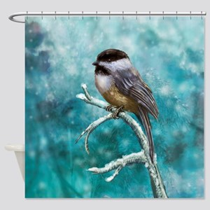 Chickadee Bird Shower Curtain