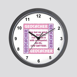 Pink Geocacher Lost Mind Wall Clock