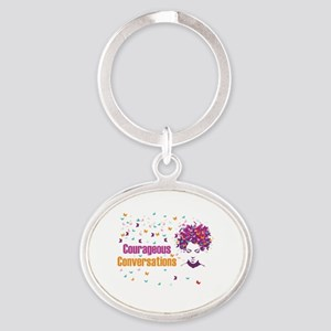 Courageous Conversations  Oval Keychain