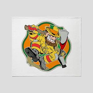 Irish Firefighter Leprechaun Throw Blanket