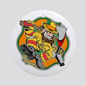 Irish Firefighter Leprechaun Round Ornament