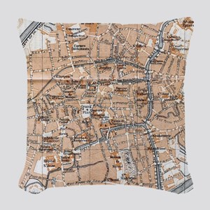 Vintage Map of Bruges (1905) Woven Throw Pillow
