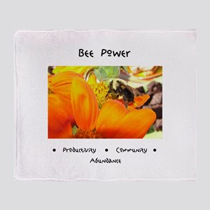 Bee Power Flower Throw Blanket