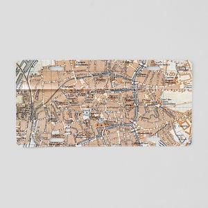 Vintage Map of Bruges (1905 Aluminum License Plate