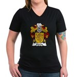 Barros Family Crest Women's V-Neck Dark T-Shirt