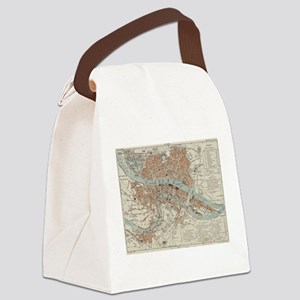 Vintage Map of Lyon France (1888) Canvas Lunch Bag