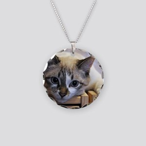 Looking At You Cat Necklace Circle Charm