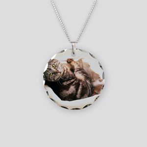 Tabby in Basket Necklace Circle Charm