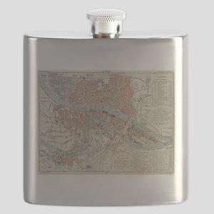 Vintage Map of Lyon France (1888) Flask