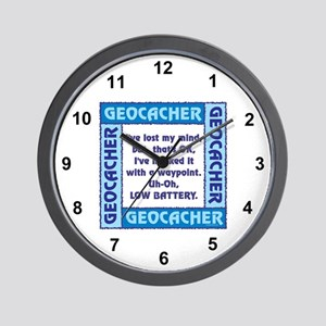 Blue Geocacher Lost Mind Wall Clock