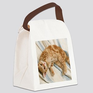 Reclining Kitten Canvas Lunch Bag