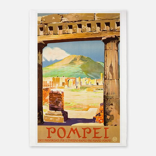 Pompei Italy ~ Vintage Travel 5'x7'Area Rug
