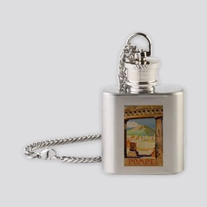 Pompei Italy ~ Vintage Travel Flask Necklace