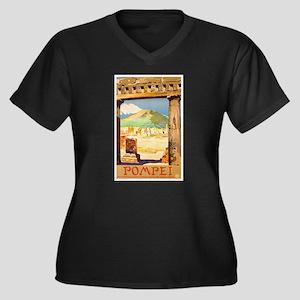 Pompei Italy Women's Plus Size V-Neck Dark T-Shirt