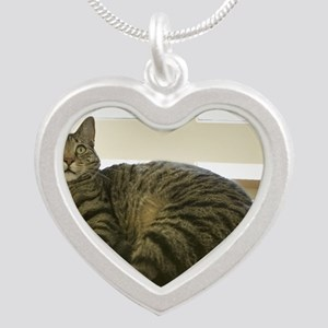 Catbed Kitty Silver Heart Necklace