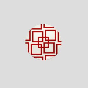 Wobble Lattice Red/White Mini Button